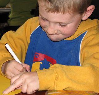 School student writing
